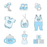 Set of baby elements - blue color for boys. Illustration of set of baby elements - blue color for boys Stock Photos