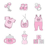 Set of baby elements - pink color for girls Royalty Free Stock Images
