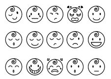 Baby emotions flat line icons. A set of baby emotions in flat line icons Royalty Free Stock Images