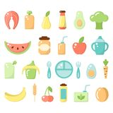 Set of baby food icons stock illustration