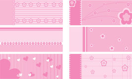 Set of baby gift cards. For girls Stock Images
