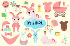 Set of isolated baby girl - vector illustration, epsset of isolated baby girl - vector illustration, eps stock illustration
