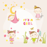 Set of Baby Girl - for Baby Shower or Arrival Card. In vector Stock Photography