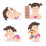 Set of  baby girl in different positions Royalty Free Stock Photography