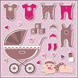 Set of baby girl icons Stock Photography