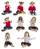 Set of baby girl sitting and making gestures stock images