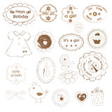 Set of baby girl stamps Royalty Free Stock Photo
