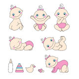 Set of baby girls. Vector illustration Royalty Free Stock Image