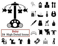 Set of 24 Baby Icons. In Black Color.Vector illustration Royalty Free Stock Photos