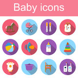 Set baby icons. Collection of colored icons of toys and child care articles. Icons vector illustration in flat design with long shadow Royalty Free Stock Images