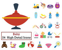 Set of 24 Baby Icons. Flat color design. Vector illustration Stock Image