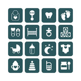 Set of baby icons isolated Stock Images