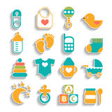 Set of baby icons isolated Royalty Free Stock Image