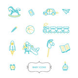 Set of baby icons in trendy linear style. stock image
