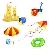 Set of baby items beach Stock Images