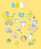 Set of baby items: rattle, doll, blocks, bottle. Set of cute baby items Stock Image