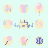 Set of baby items in style flat Stock Photos