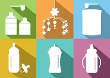 Set of baby milk bottels and powdered milk preparing,Vector illustrations Royalty Free Stock Image