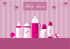 Set of baby milk bottles and pacifier,Design for baby shower cards,Vector illustrations. Set of baby milk bottles and pacifier,Design for baby shower cards vector illustration