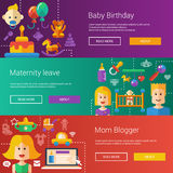 Set of baby, motherhood flat modern illustrations Royalty Free Stock Photos