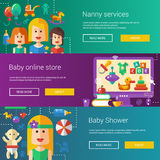 Set of baby, motherhood flat modern illustrations Royalty Free Stock Photo