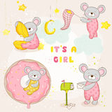 Set of Baby Mouse - for Baby Shower or Arrival Card Royalty Free Stock Image