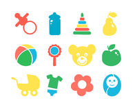 Set of baby objects colorful icon. Stock Images
