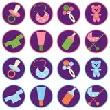 Set with baby objects icons. On violet Stock Photography
