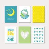 Set of baby owl theme cards Stock Photography