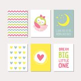 Set of baby owl theme cards Royalty Free Stock Images