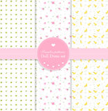 Set of baby patterns. Set of soft baby textile patterns in spring theme Stock Photography