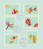 Set of baby post stamps. Set of baby vector post stamps Stock Photo