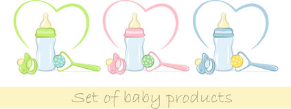 Set of baby products in gentle colors Stock Photos