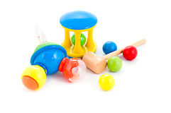 Set of baby rattles and toys Stock Images