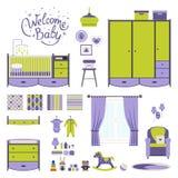 Set baby room. Elements. Nursery and playroom interior. Vector royalty free illustration