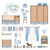 Set baby room. Elements. Nursery and playroom interior. Vector illustrartion stock illustration