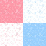 Set of 4 baby seamless pattern. Royalty Free Stock Images