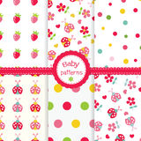 Set of baby seamless patterns Stock Photos