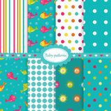 Set of baby seamless patterns. With fishes,sea stars and polka dots Stock Image