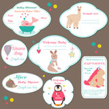 Set of baby shower badges, invitation tags with cute animals. Set of baby shower badges, invitation tags with funny animals Royalty Free Stock Photos