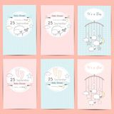Set of Baby shower boy and girl invitation cards. Template for scrapbooking with little lambs, stars, moon and clouds. Vector illustration royalty free illustration