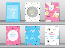 Set of baby shower card on memphis pattern of retro vintage 80s or 90s Stock Photography