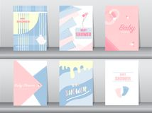 Set of baby shower card on retro pattern design,vintage,poster,template,greeting,Vector illustrations Stock Illustration