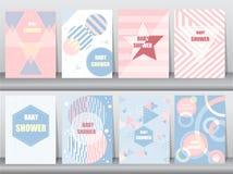Set of baby shower card on retro pattern design,vintage,poster,template,greeting,Vector illustrations Royalty Free Illustration