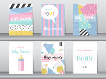Set of baby shower card on retro pattern design,vintage,poster,template,greeting,Vector illustrations Stock Photos