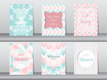 Set of baby shower card on retro pattern design,vintage,poster,template,greeting,Vector illustrations Royalty Free Stock Photo