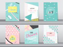 Set of baby shower card on retro pattern design,vintage,poster,template,greeting,Vector illustrations Stock Photography