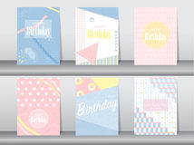 Set of baby shower card on retro pattern design,vintage,poster,template,greeting,Vector illustrations Royalty Free Stock Photography