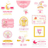 Set of Baby Shower Cards. Set of Baby Shower and Arrival Cards - for design and scrapbook - in Royalty Free Stock Image