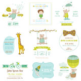 Set of Baby Shower Cards. Set of Baby Shower and Arrival Cards - for design and scrapbook - in vector Royalty Free Stock Image